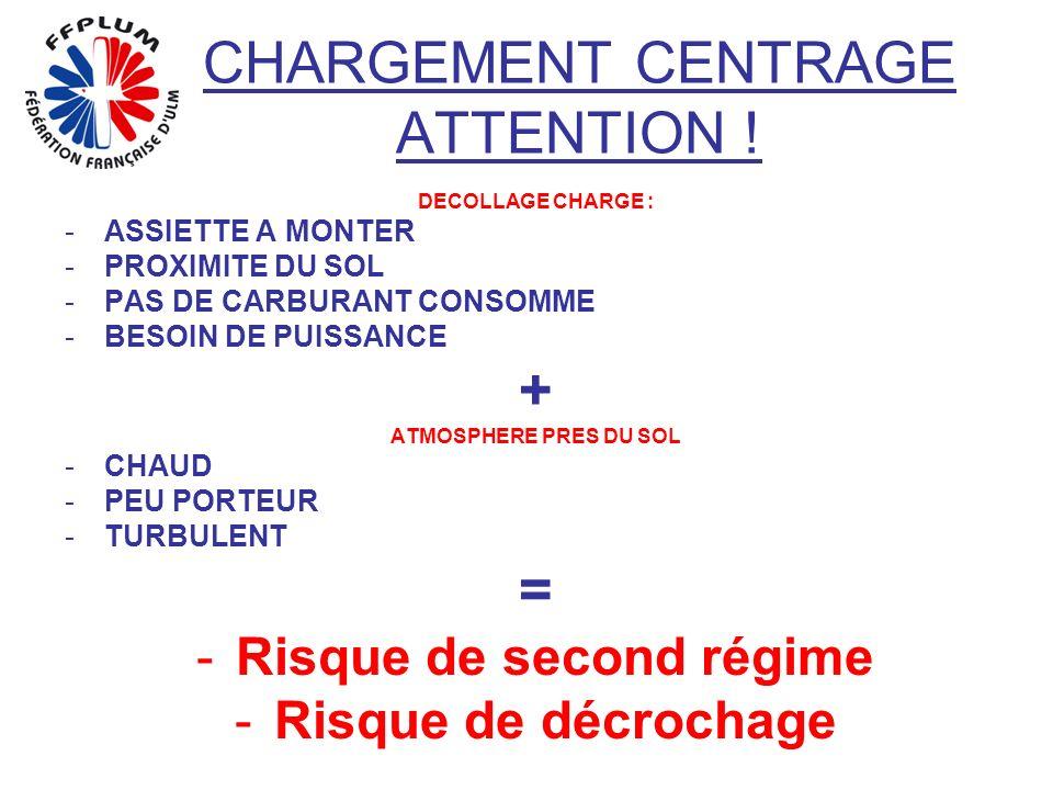 CHARGEMENT CENTRAGE ATTENTION ! DECOLLAGE CHARGE : -A-ASSIETTE A MONTER -P-PROXIMITE DU SOL -P-PAS DE CARBURANT CONSOMME -B-BESOIN DE PUISSANCE + ATMO
