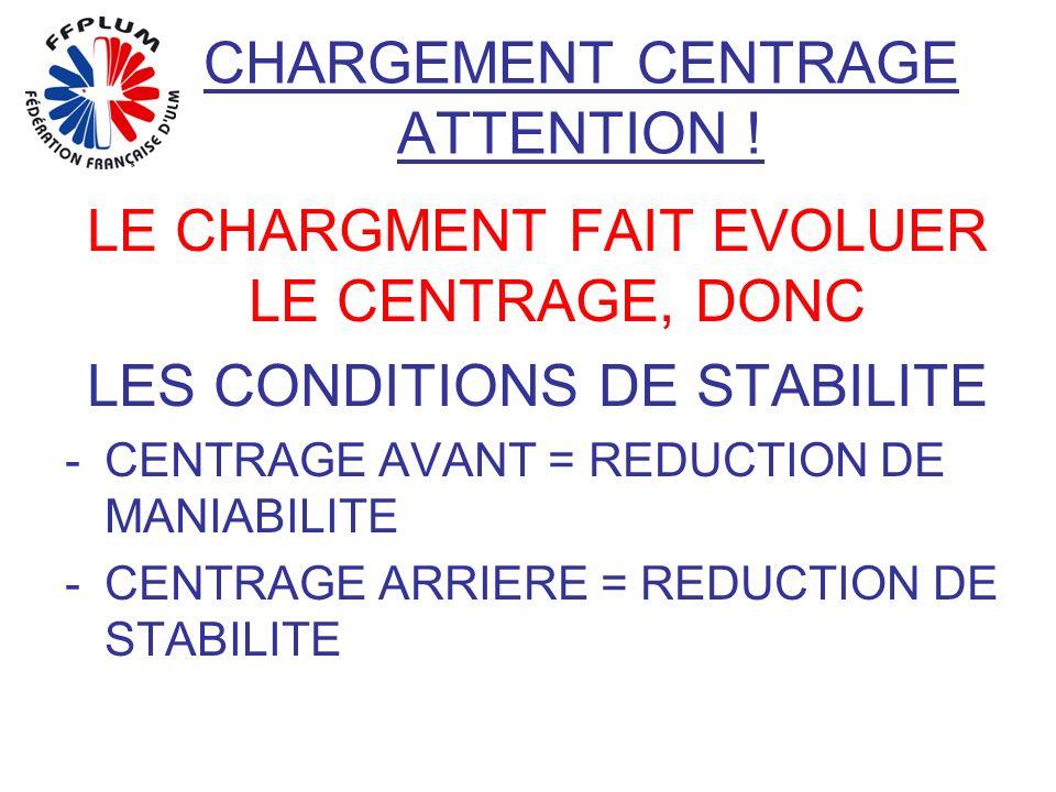 CHARGEMENT CENTRAGE ATTENTION ! LE CHARGMENT FAIT EVOLUER LE CENTRAGE, DONC LES CONDITIONS DE STABILITE -CENTRAGE AVANT = REDUCTION DE MANIABILITE -CE
