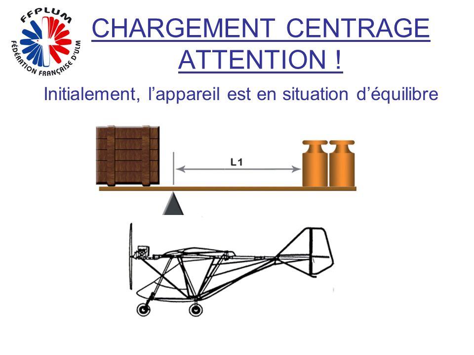 CHARGEMENT CENTRAGE ATTENTION ! Initialement, lappareil est en situation déquilibre
