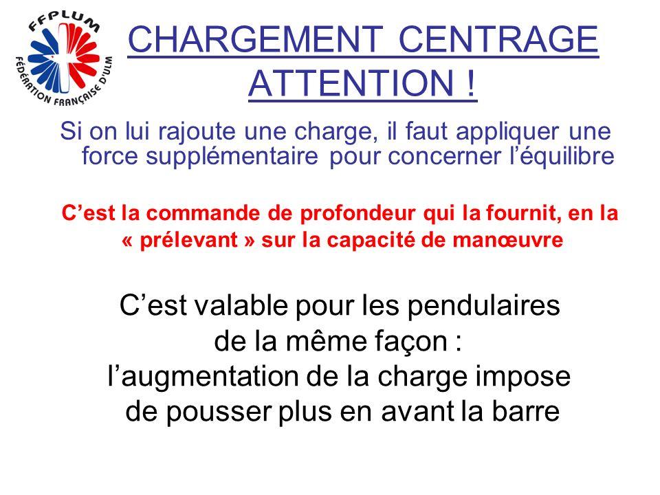 CHARGEMENT CENTRAGE ATTENTION ! Si on lui rajoute une charge, il faut appliquer une force supplémentaire pour concerner léquilibre Cest la commande de