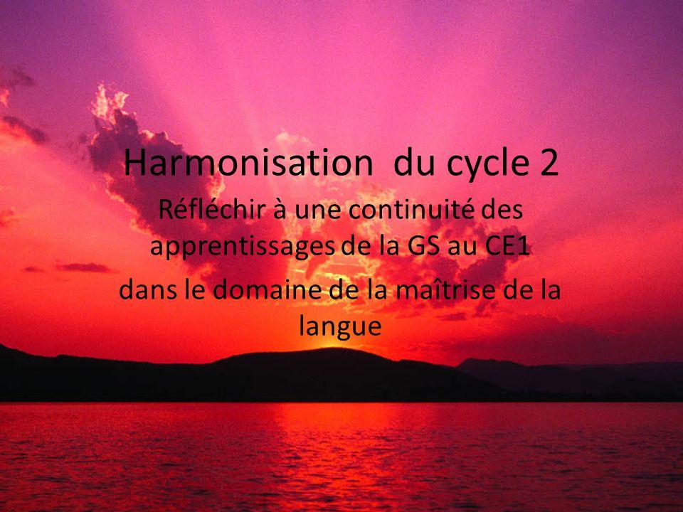 Harmonisation du cycle 2 Réfléchir à une continuité des apprentissages de la GS au CE1 dans le domaine de la maîtrise de la langue
