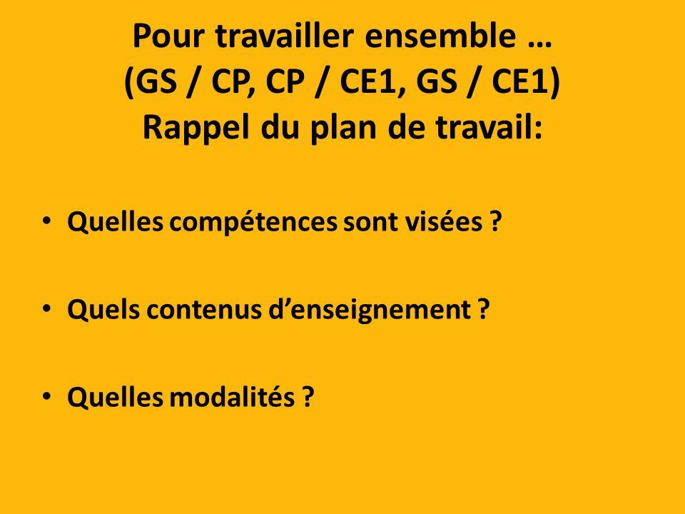 Pour travailler ensemble … (GS / CP, CP / CE1, GS / CE1) Rappel du plan de travail: Quelles compétences sont visées .