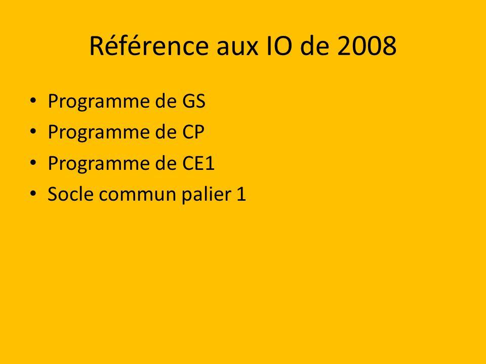 Référence aux IO de 2008 Programme de GS Programme de CP Programme de CE1 Socle commun palier 1