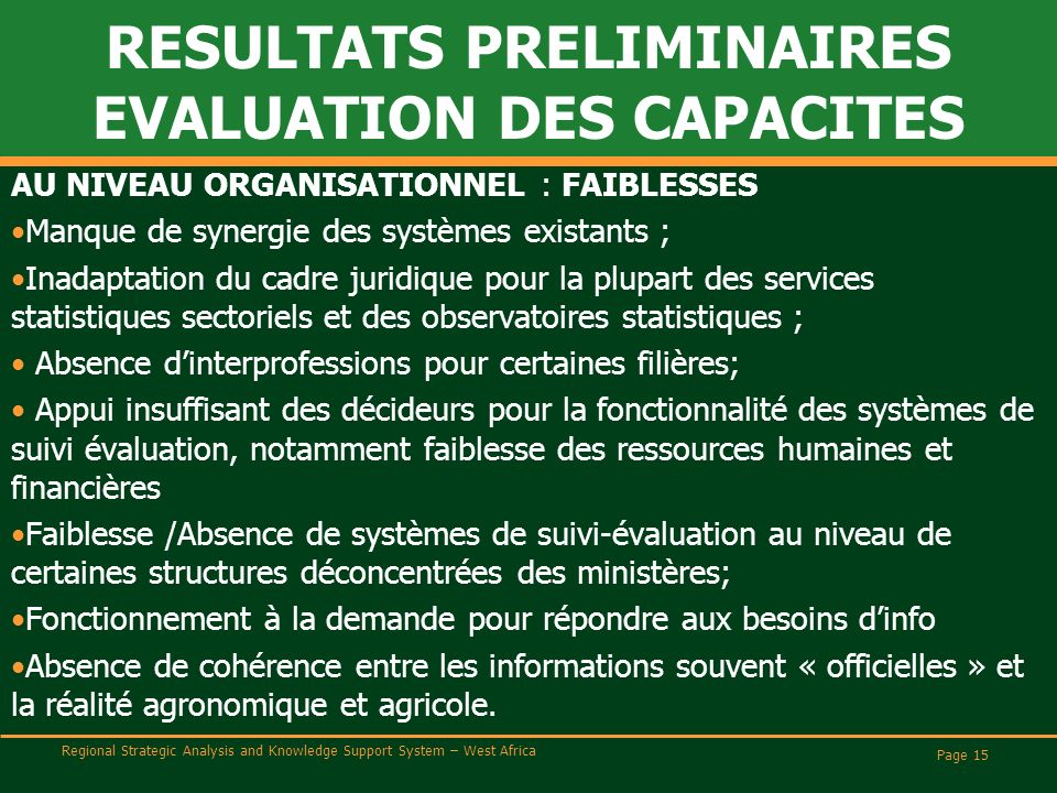 Regional Strategic Analysis and Knowledge Support System – West Africa RESULTATS PRELIMINAIRES EVALUATION DES CAPACITES AU NIVEAU ORGANISATIONNEL : FA
