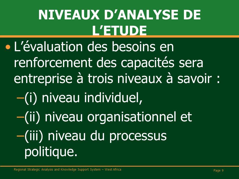 Regional Strategic Analysis and Knowledge Support System – West Africa NIVEAUX DANALYSE DE LETUDE Lévaluation des besoins en renforcement des capacités sera entreprise à trois niveaux à savoir : –(i) niveau individuel, –(ii) niveau organisationnel et –(iii) niveau du processus politique.