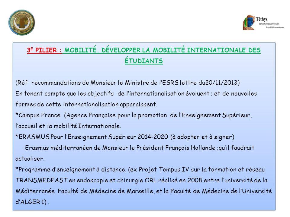 3 E PILIER : MOBILITÉ. DÉVELOPPER LA MOBILITÉ INTERNATIONALE DES ÉTUDIANTS (Réf recommandations de Monsieur le Ministre de lESRS lettre du20/11/2013)
