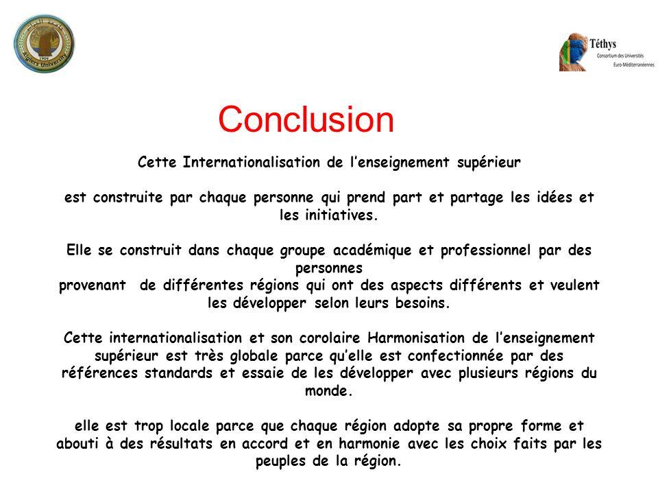 Cette Internationalisation de lenseignement supérieur est construite par chaque personne qui prend part et partage les idées et les initiatives. Elle