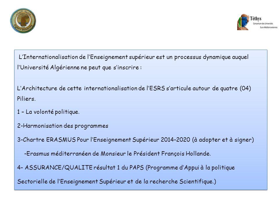 1 IER PILIER : LA VOLONTÉ POLITIQUE Lettre de Monsieur le Ministre de lenseignement Supérieur et de la recherche scientifique du 20/Novembre /2013 ayant pour objet : Ouverture des établissements de lenseignement et de la recherche Algériens, à lInternational.