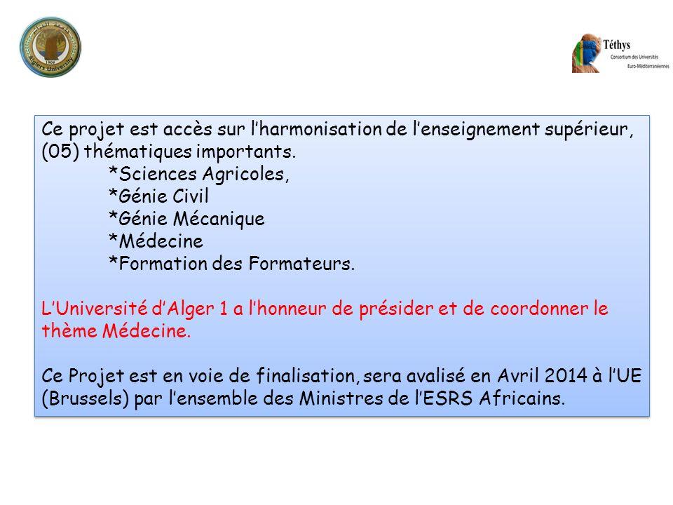 Ce projet est accès sur lharmonisation de lenseignement supérieur, (05) thématiques importants. *Sciences Agricoles, *Génie Civil *Génie Mécanique *Mé