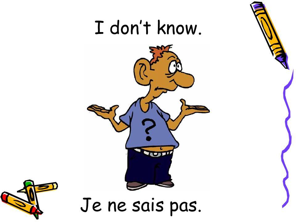 Je ne sais pas. I dont know.