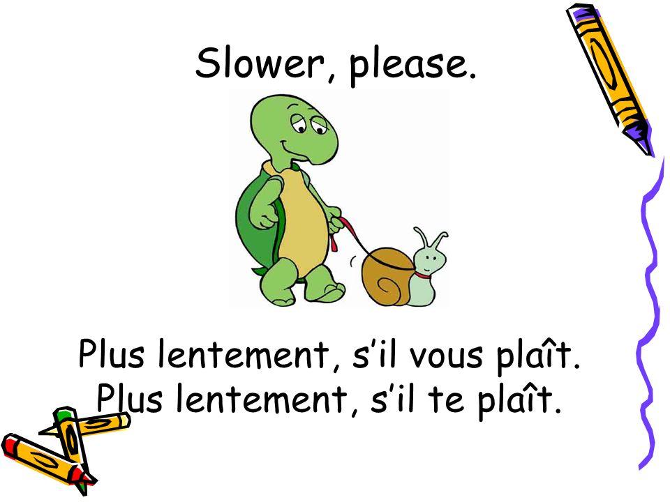 Plus lentement, sil vous plaît. Plus lentement, sil te plaît. Slower, please.