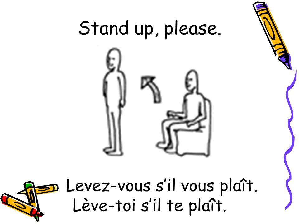 Levez-vous sil vous plaît. Lève-toi sil te plaît. Stand up, please.
