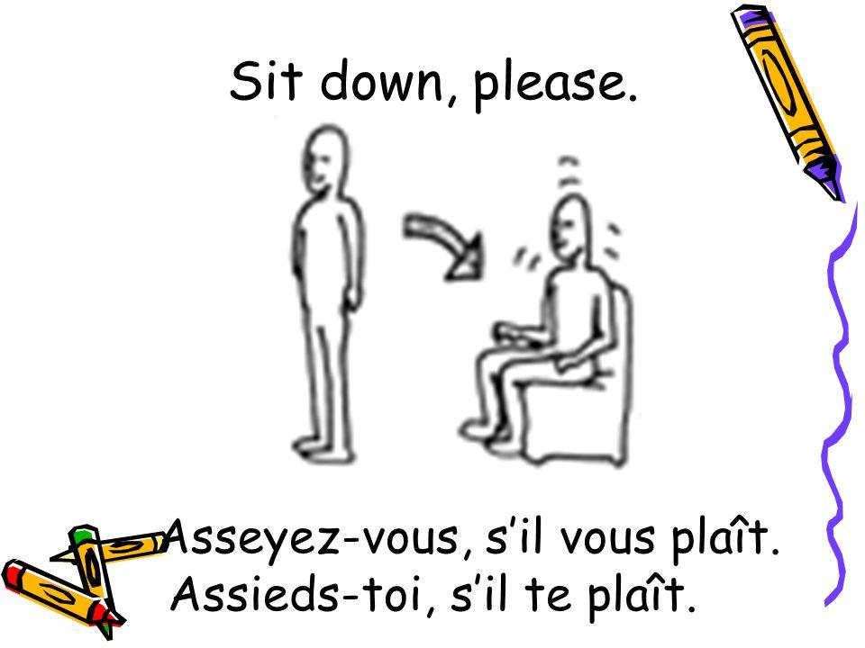Asseyez-vous, sil vous plaît. Assieds-toi, sil te plaît. Sit down, please.