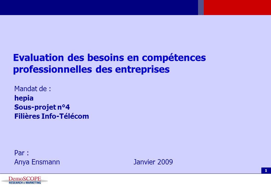 Agenda 1 Evaluation des besoins en compétences professionnelles des entreprises Mandat de : hepia Sous-projet n°4 Filières Info-Télécom Par : Anya EnsmannJanvier 2009
