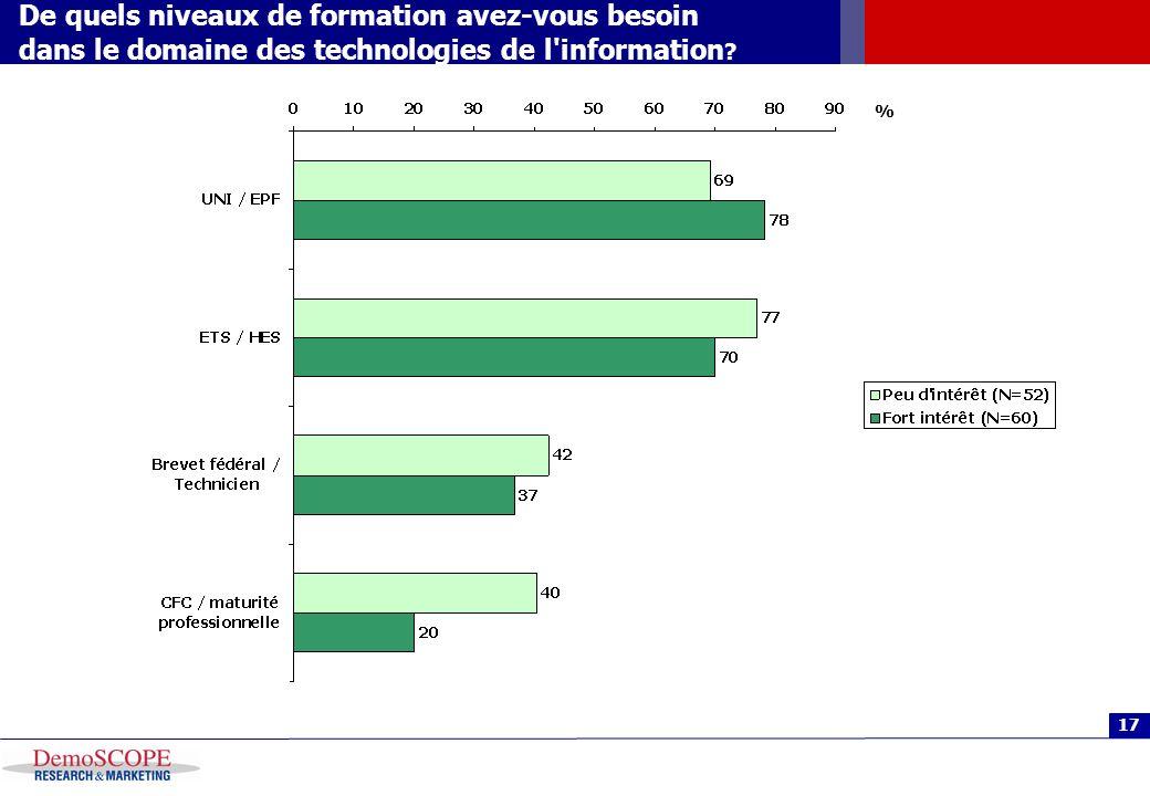 17 De quels niveaux de formation avez-vous besoin dans le domaine des technologies de l'information ? %
