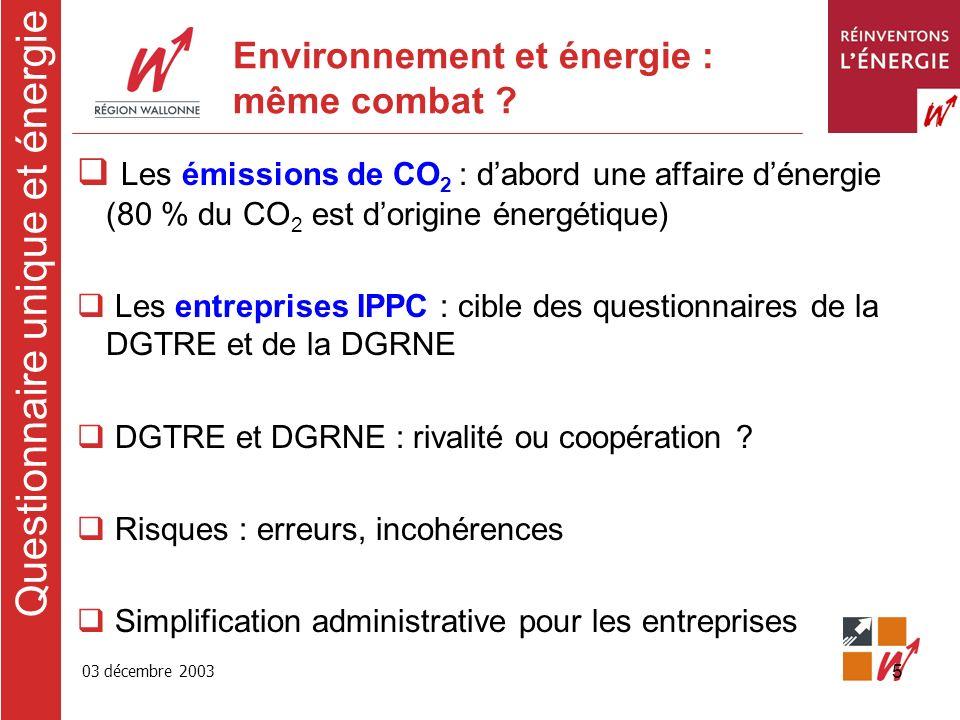 03 décembre 2003 5 Environnement et énergie : même combat .