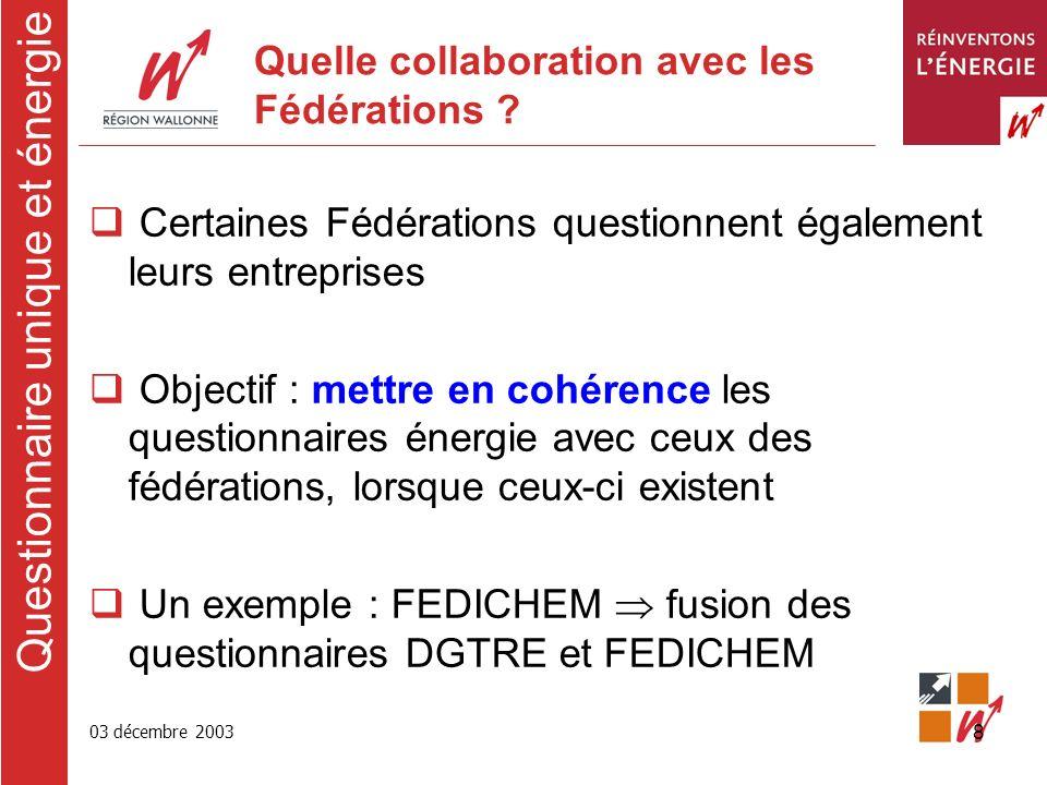 03 décembre 2003 8 Quelle collaboration avec les Fédérations .
