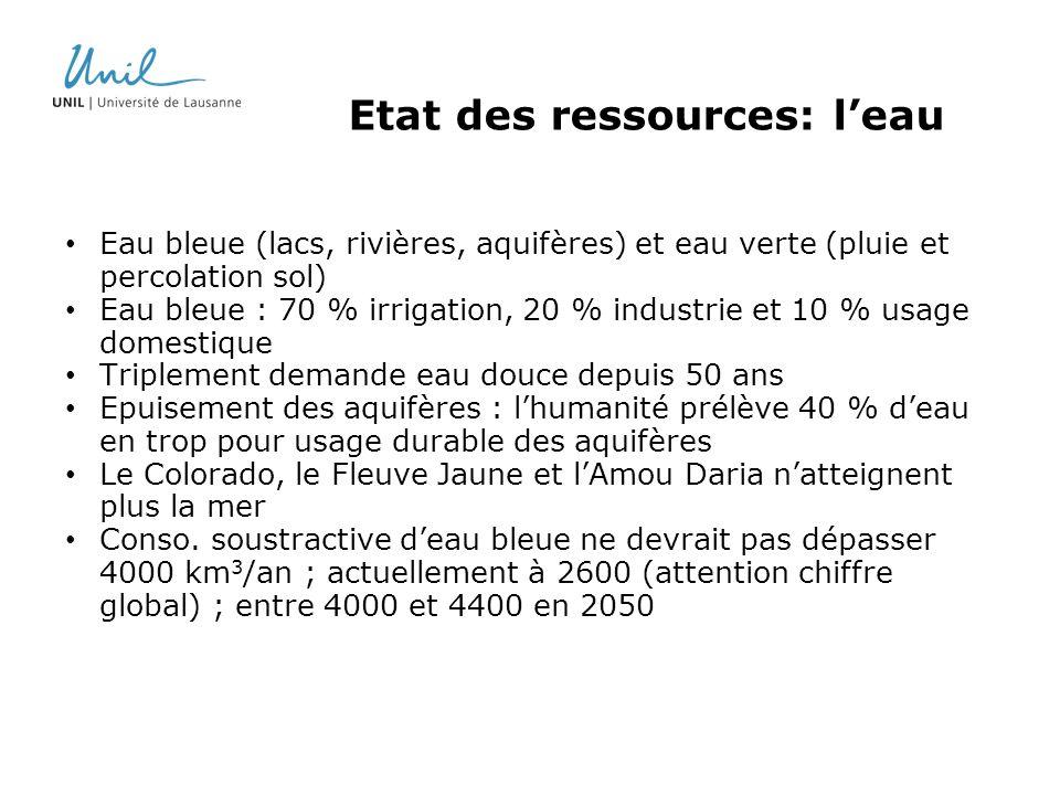 Etat des ressources: leau Eau bleue (lacs, rivières, aquifères) et eau verte (pluie et percolation sol) Eau bleue : 70 % irrigation, 20 % industrie et
