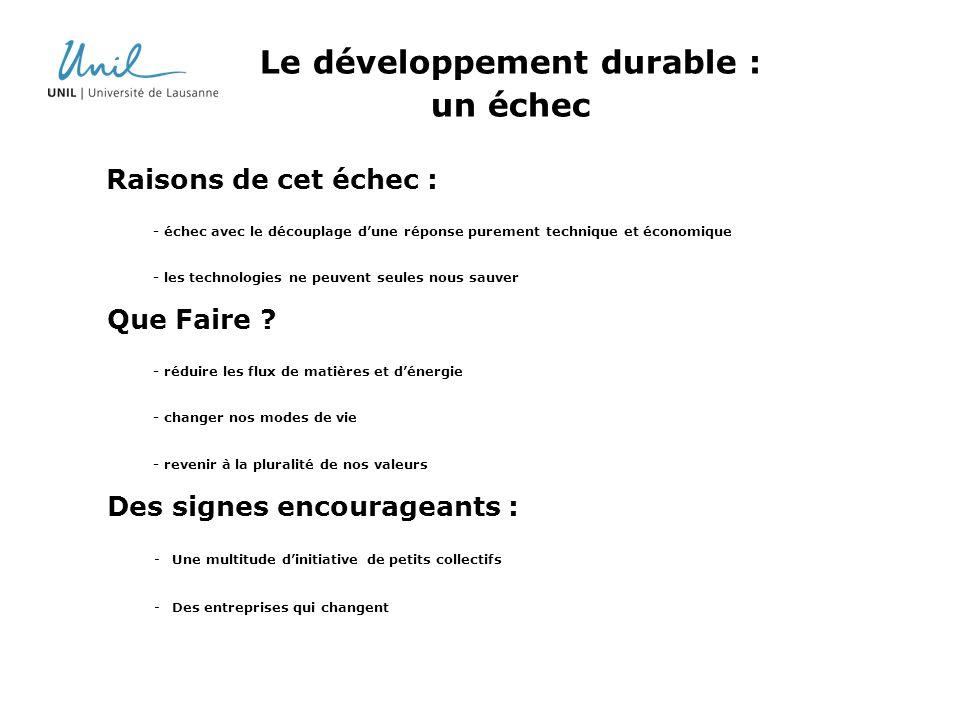 Le développement durable : un échec Raisons de cet échec : - échec avec le découplage dune réponse purement technique et économique - les technologies