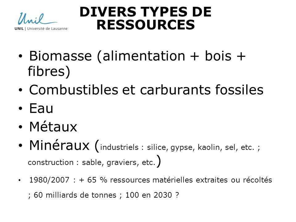 DIVERS TYPES DE RESSOURCES Biomasse (alimentation + bois + fibres) Combustibles et carburants fossiles Eau Métaux Minéraux ( industriels : silice, gyp