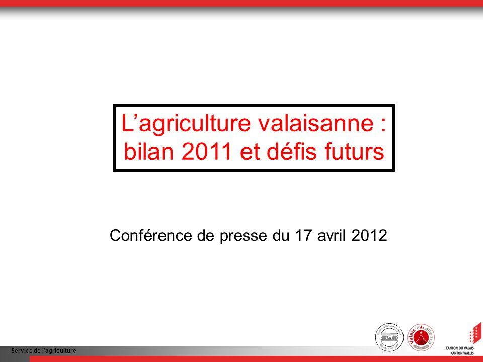 Service de lagriculture Lagriculture valaisanne : bilan 2011 et défis futurs Conférence de presse du 17 avril 2012