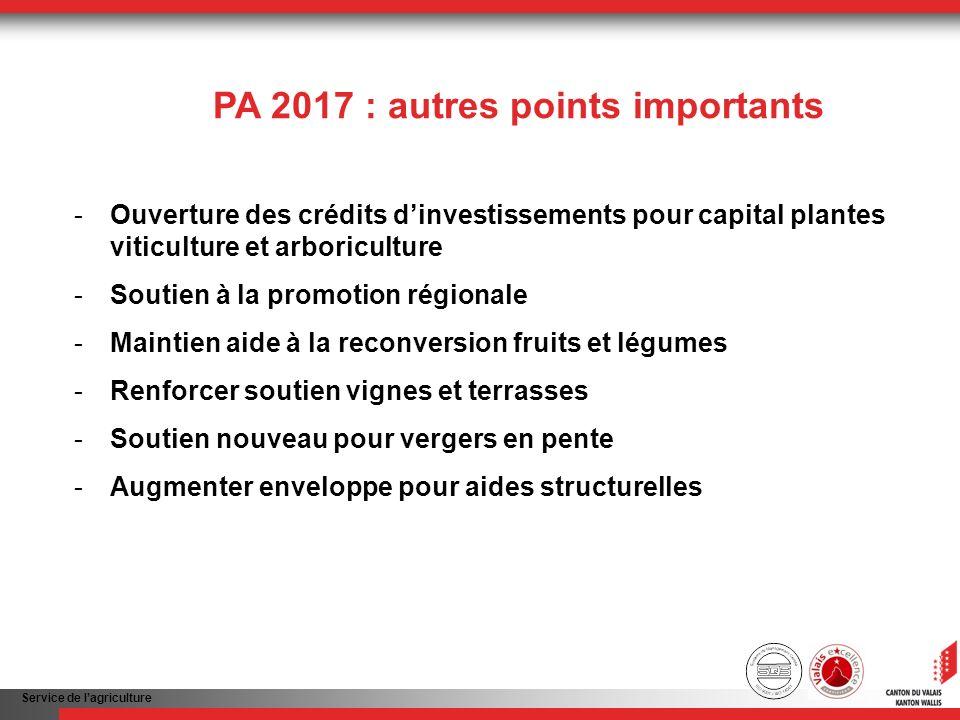 Service de lagriculture PA 2017 : autres points importants -Ouverture des crédits dinvestissements pour capital plantes viticulture et arboriculture -