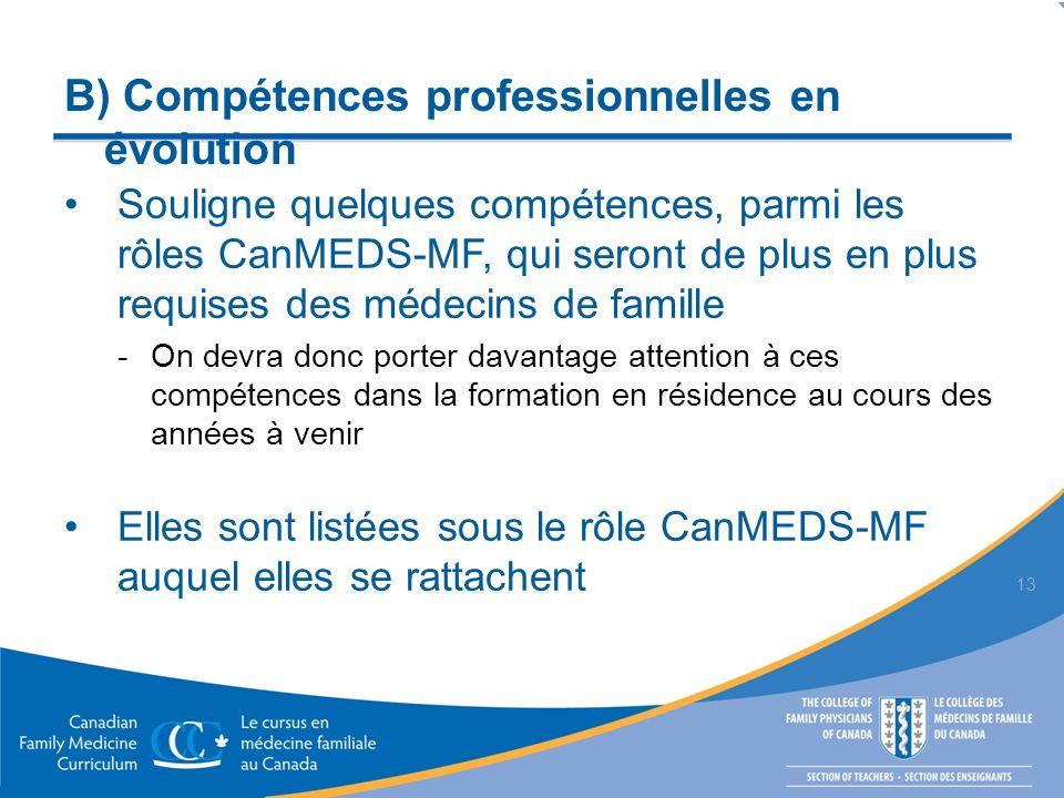 B) Compétences professionnelles en évolution Souligne quelques compétences, parmi les rôles CanMEDS-MF, qui seront de plus en plus requises des médeci