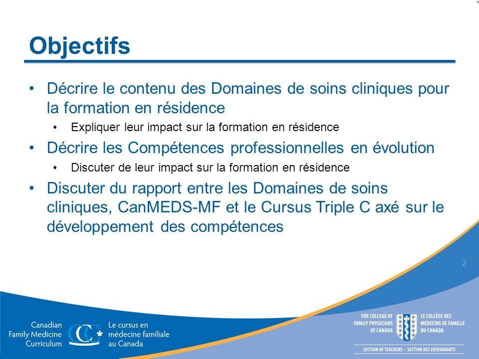 Objectifs Décrire le contenu des Domaines de soins cliniques pour la formation en résidence Expliquer leur impact sur la formation en résidence Décrir