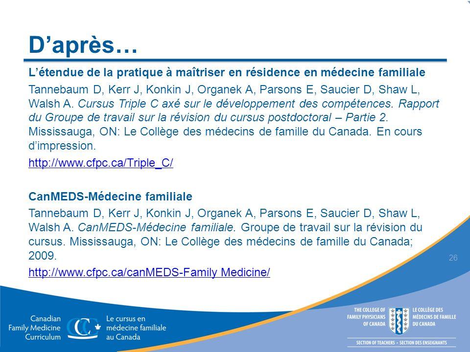Daprès… Létendue de la pratique à maîtriser en résidence en médecine familiale Tannebaum D, Kerr J, Konkin J, Organek A, Parsons E, Saucier D, Shaw L, Walsh A.