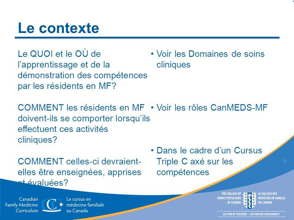Le contexte 5 Le QUOI et le OÙ de lapprentissage et de la démonstration des compétences par les résidents en MF? COMMENT les résidents en MF doivent-i