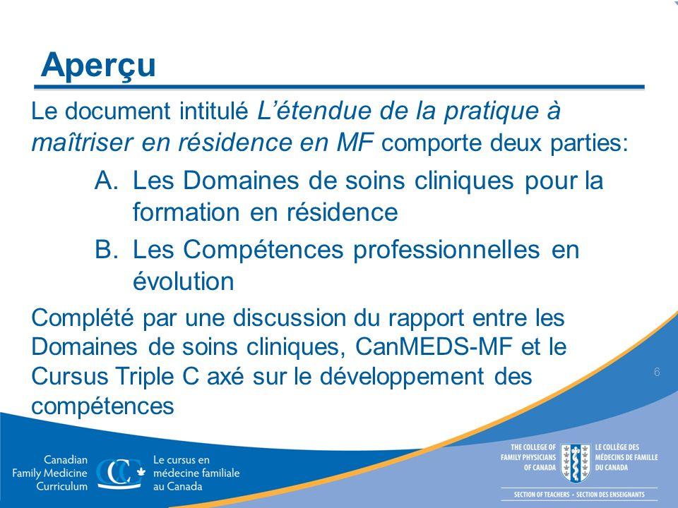 Aperçu Le document intitulé Létendue de la pratique à maîtriser en résidence en MF comporte deux parties: A. Les Domaines de soins cliniques pour la f