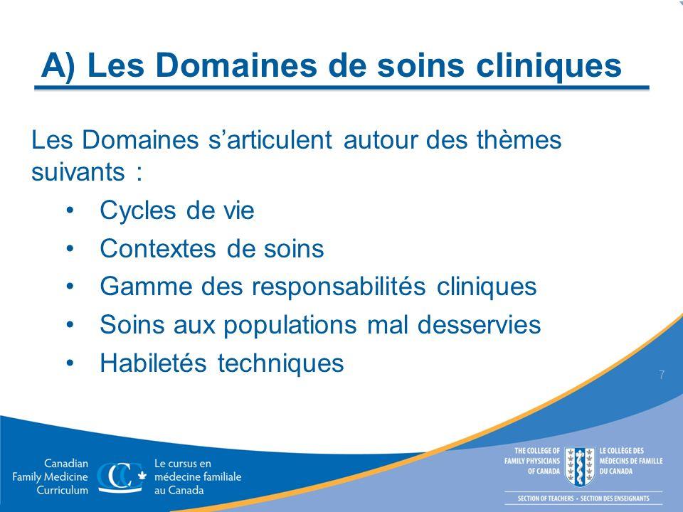 A) Les Domaines de soins cliniques Les Domaines sarticulent autour des thèmes suivants : Cycles de vie Contextes de soins Gamme des responsabilités cliniques Soins aux populations mal desservies Habiletés techniques 7