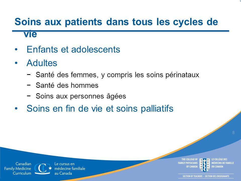 Soins aux patients dans tous les cycles de vie Enfants et adolescents Adultes Santé des femmes, y compris les soins périnataux Santé des hommes Soins aux personnes âgées Soins en fin de vie et soins palliatifs 8