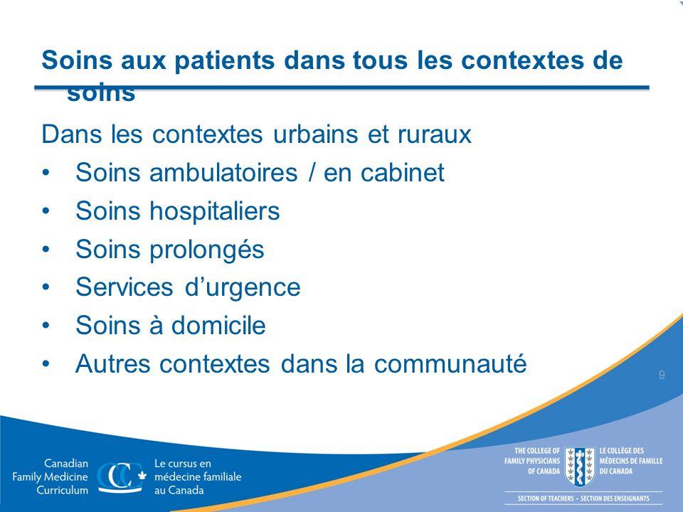 Soins aux patients dans tous les contextes de soins Dans les contextes urbains et ruraux Soins ambulatoires / en cabinet Soins hospitaliers Soins prol