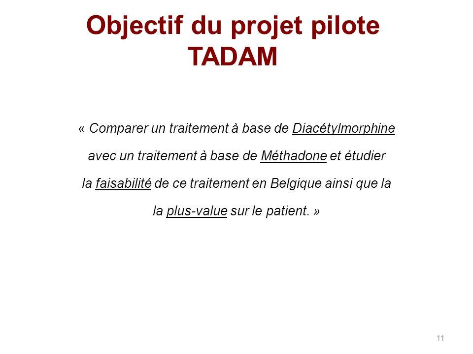 Objectif du projet pilote TADAM « Comparer un traitement à base de Diacétylmorphine avec un traitement à base de Méthadone et étudier la faisabilité de ce traitement en Belgique ainsi que la la plus-value sur le patient.