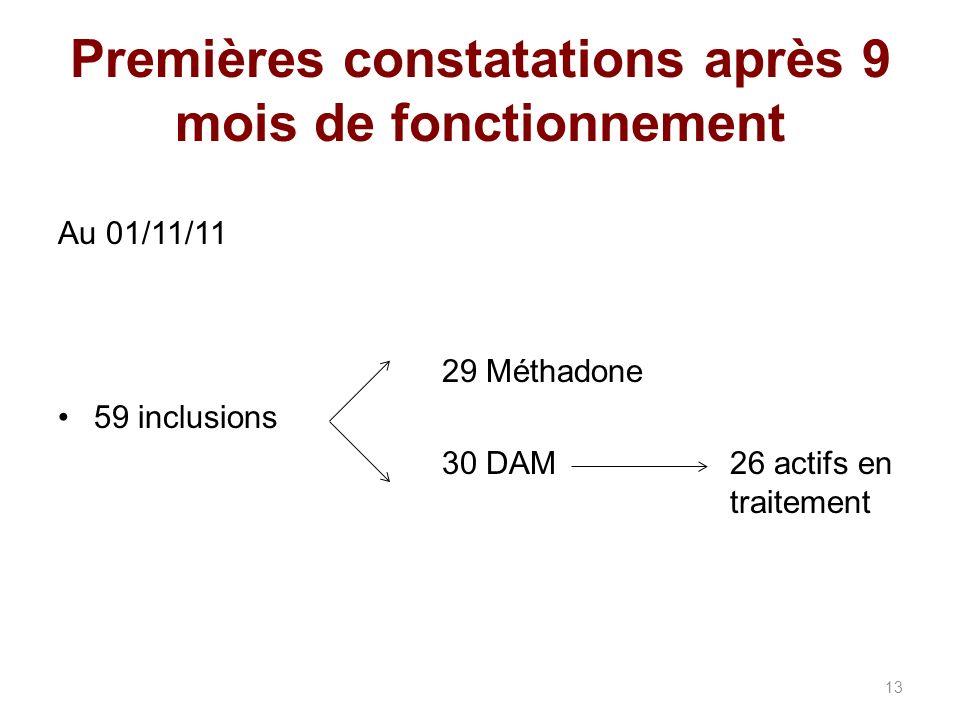 Premières constatations après 9 mois de fonctionnement Au 01/11/11 29 Méthadone 59 inclusions 30 DAM26 actifs en traitement 13