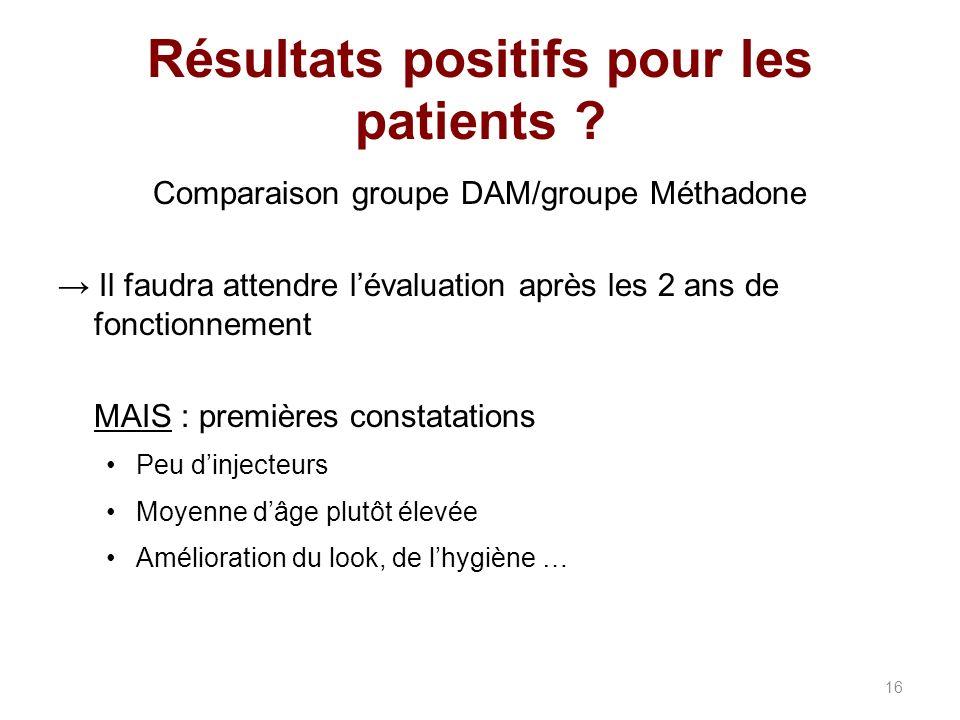 Résultats positifs pour les patients .