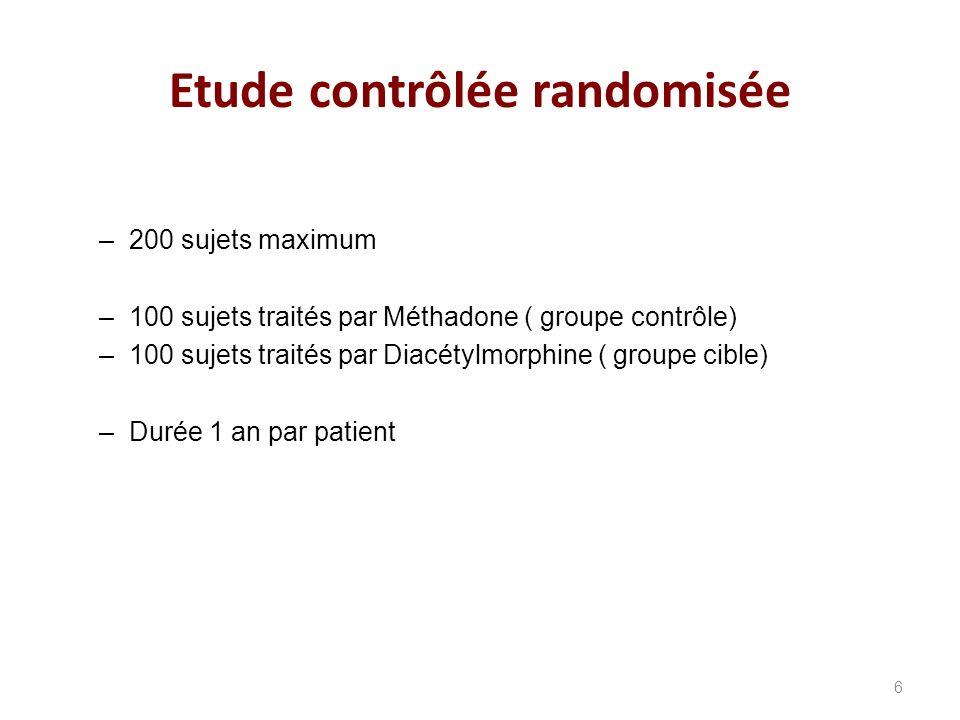 –200 sujets maximum –100 sujets traités par Méthadone ( groupe contrôle) –100 sujets traités par Diacétylmorphine ( groupe cible) –Durée 1 an par patient Etude contrôlée randomisée 6