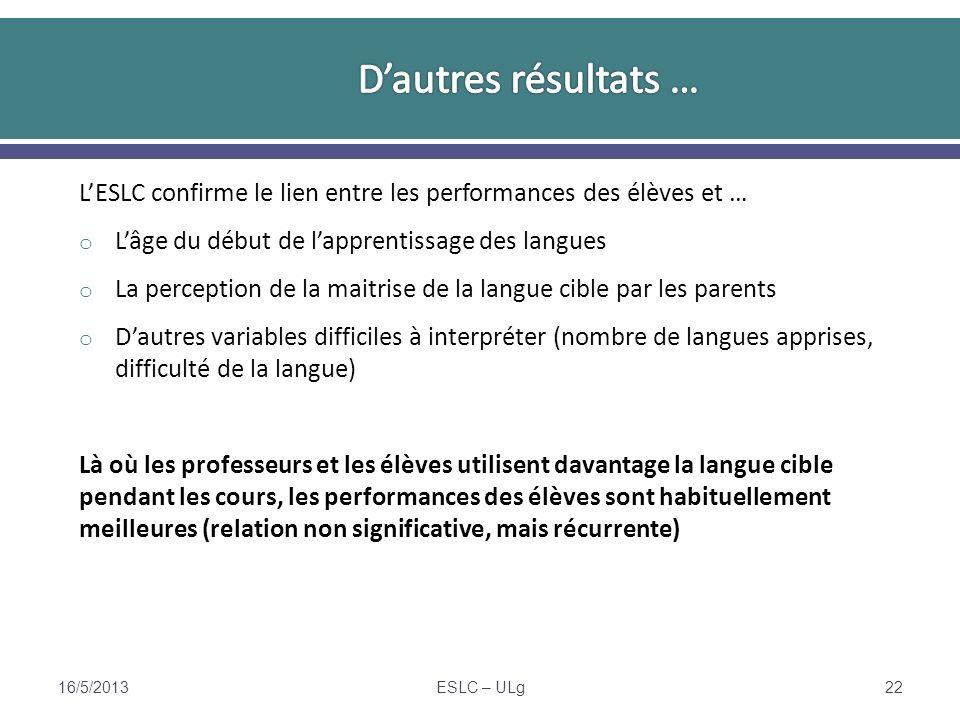 LESLC confirme le lien entre les performances des élèves et … o Lâge du début de lapprentissage des langues o La perception de la maitrise de la langu