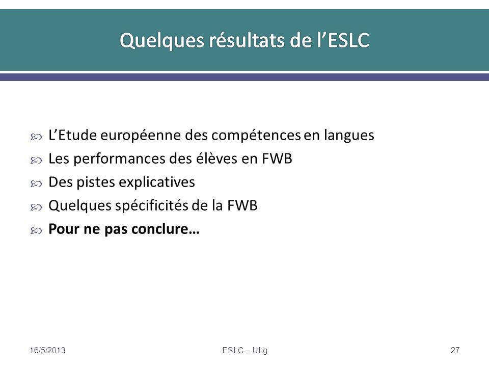 LEtude européenne des compétences en langues Les performances des élèves en FWB Des pistes explicatives Quelques spécificités de la FWB Pour ne pas conclure… 16/5/2013ESLC – ULg27