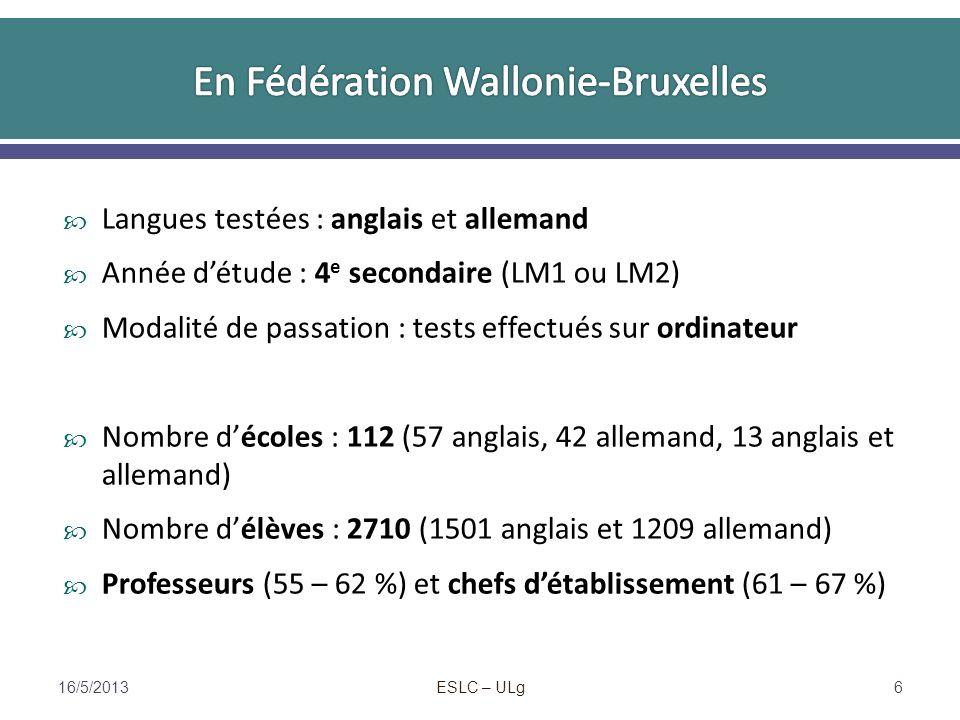 ESLC – ULg Un même pays peut obtenir des résultats excellents dans une langue et très faibles dans une autre (Suède, Communauté flamande) : différents éléments du contexte exercent une influence 16/5/201317