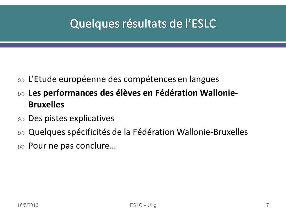 Pas (encore) de mention du CECRL dans les référentiels en Fédération Wallonie-Bruxelles, contrairement à la plupart des autres pays Le niveau attendu à la fin de la 6 e secondaire générale ou technique de transition équivaudrait au niveau B1 ou B1+ (Simons, 2012 et Etienne, 2011) Le temps dapprentissage guidé pour passer de A2 à B1 est évalué à 150 à 200 heures, soit environ 2 années scolaires à 4 périodes par semaine Il semble donc légitime de considérer, au moins provisoirement, que les élèves testés (en février) devraient avoir atteint en juin le niveau A2.
