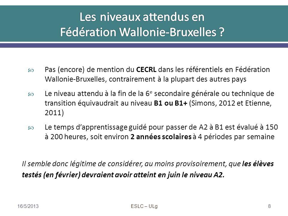 Pas (encore) de mention du CECRL dans les référentiels en Fédération Wallonie-Bruxelles, contrairement à la plupart des autres pays Le niveau attendu