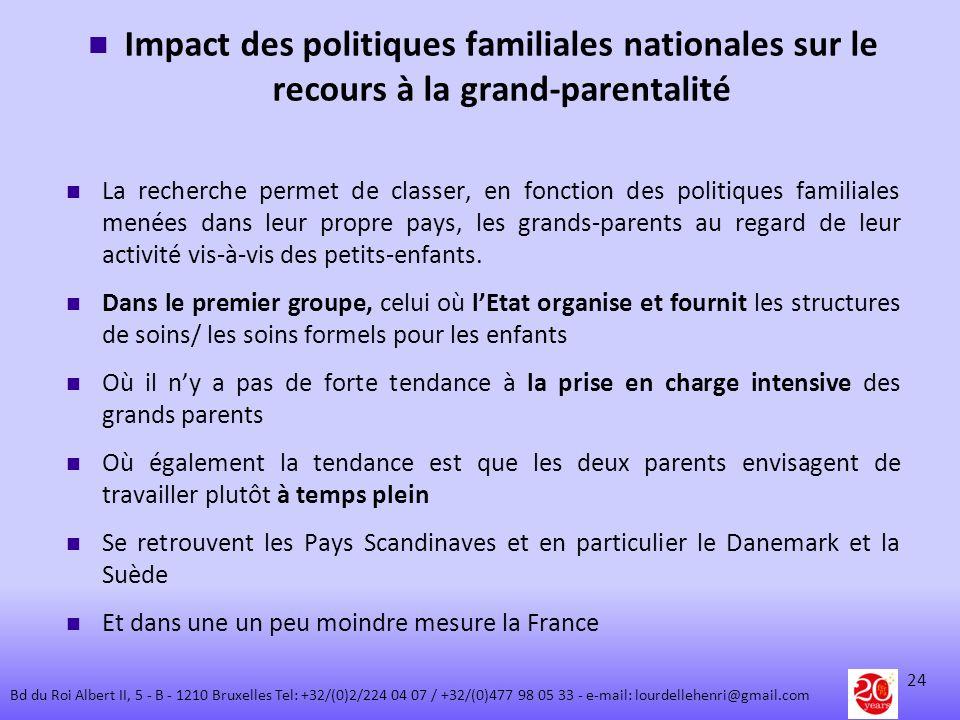 Impact des politiques familiales nationales sur le recours à la grand-parentalité La recherche permet de classer, en fonction des politiques familiale