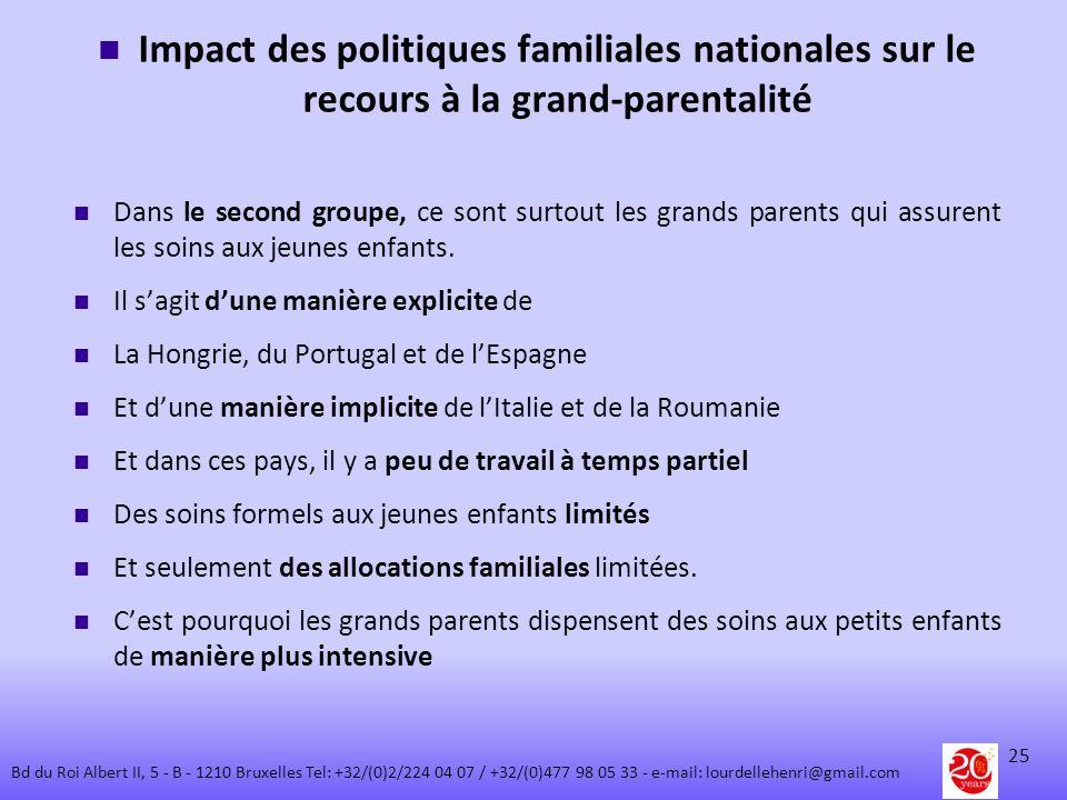 Impact des politiques familiales nationales sur le recours à la grand-parentalité Dans le second groupe, ce sont surtout les grands parents qui assure