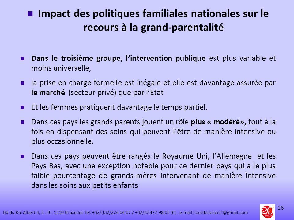 Impact des politiques familiales nationales sur le recours à la grand-parentalité Dans le troisième groupe, lintervention publique est plus variable e