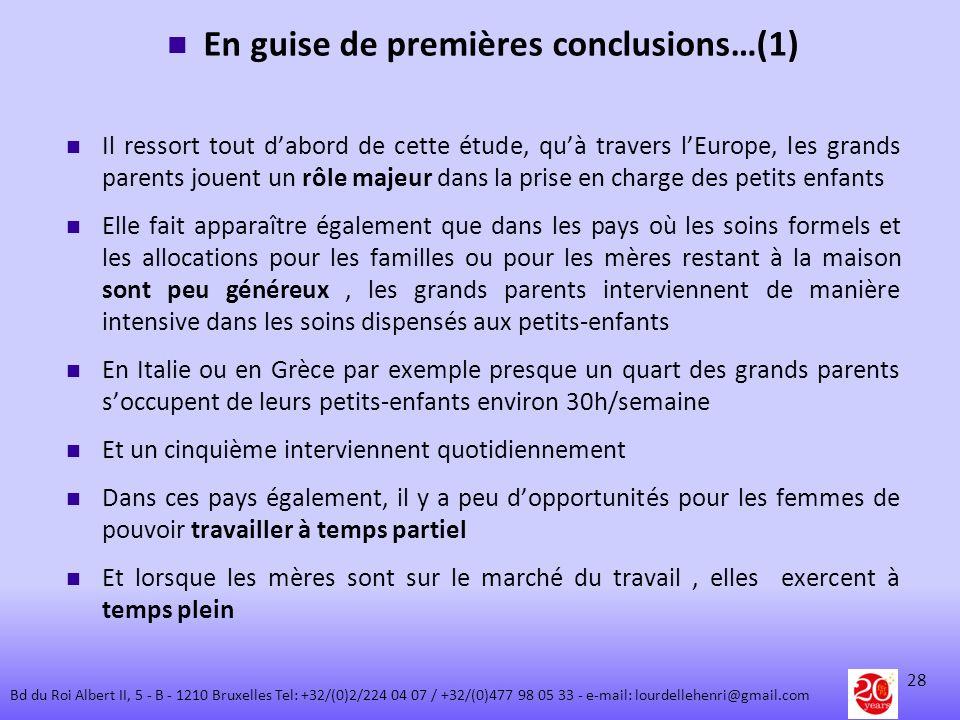 En guise de premières conclusions…(1) Il ressort tout dabord de cette étude, quà travers lEurope, les grands parents jouent un rôle majeur dans la pri