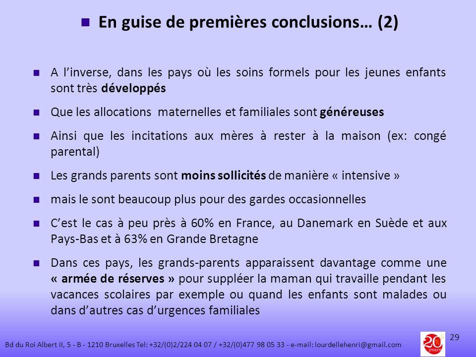 En guise de premières conclusions… (2) A linverse, dans les pays où les soins formels pour les jeunes enfants sont très développés Que les allocations