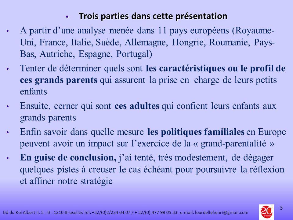 Trois parties dans cette présentation Trois parties dans cette présentation A partir dune analyse menée dans 11 pays européens (Royaume- Uni, France,