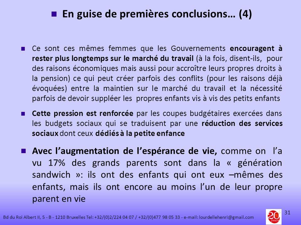 En guise de premières conclusions… (4) Ce sont ces mêmes femmes que les Gouvernements encouragent à rester plus longtemps sur le marché du travail (à